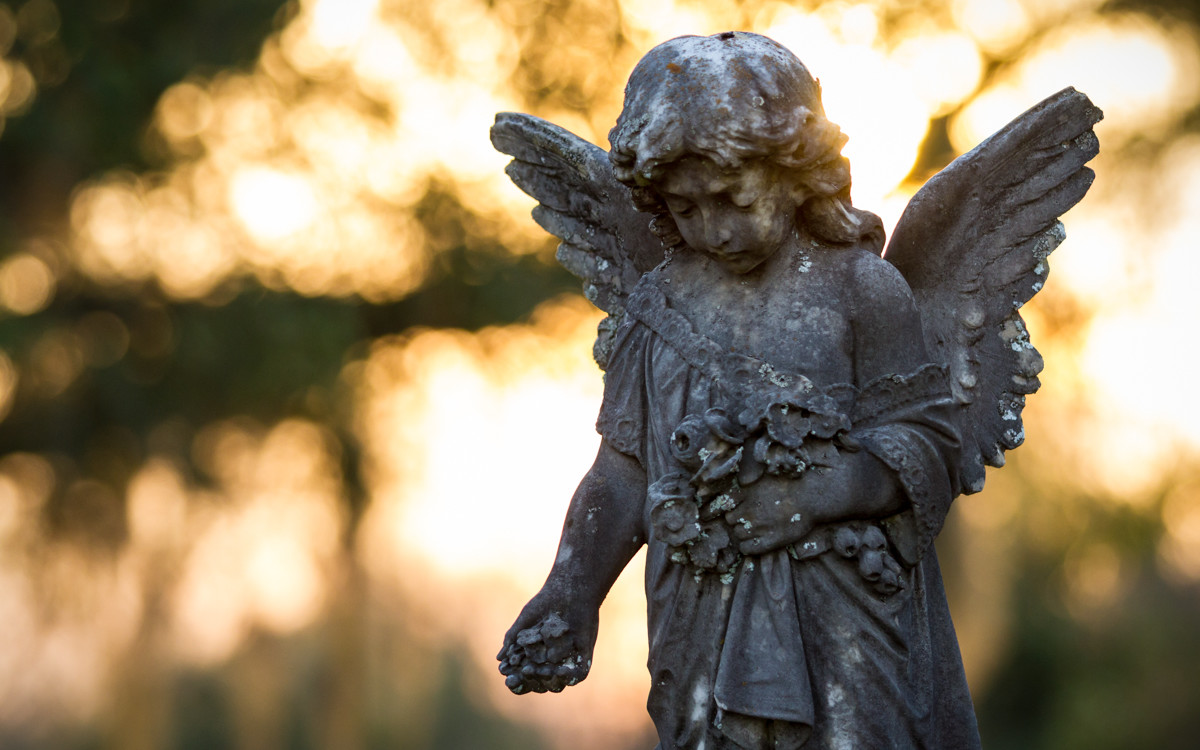 Cemetery Angel at Sunset
